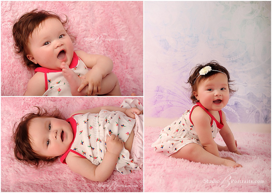 7 month old baby girl in sun dress_Studio B Portraits