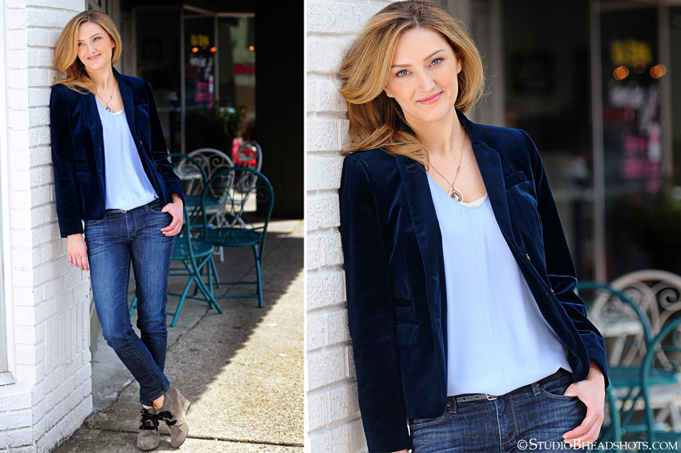 Great professional headshots of woman in blue velvet jacket with denim