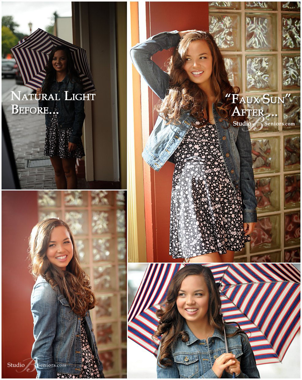 Before and after senior pictures in the rain using flash_Studio B Portraits_0004