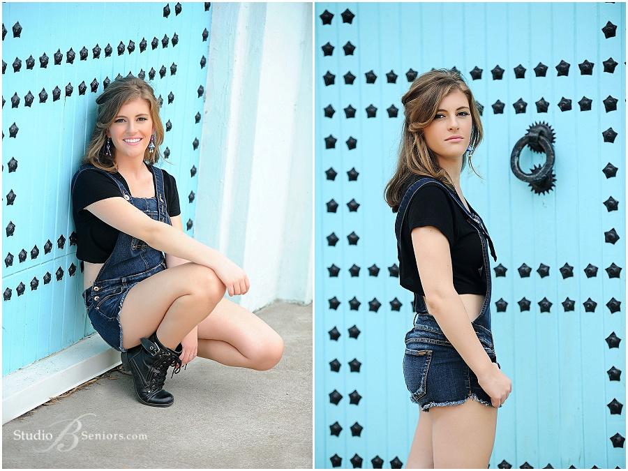 Outdoor senior pictures of girl in denim jumper_Issaquah High School_Studio B Portraits