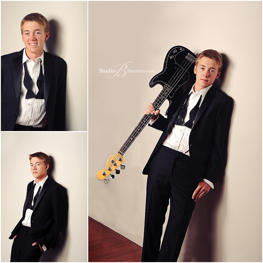 Senior boy with bass guitar in tuxedo_Studio B Portraits