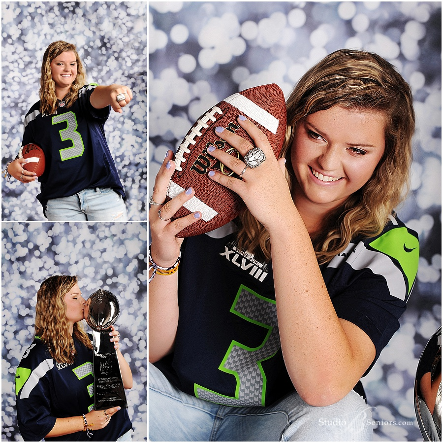 Senior girl in Seahawks jersey with Super Bowl Ring_Studio B Portraits_0413