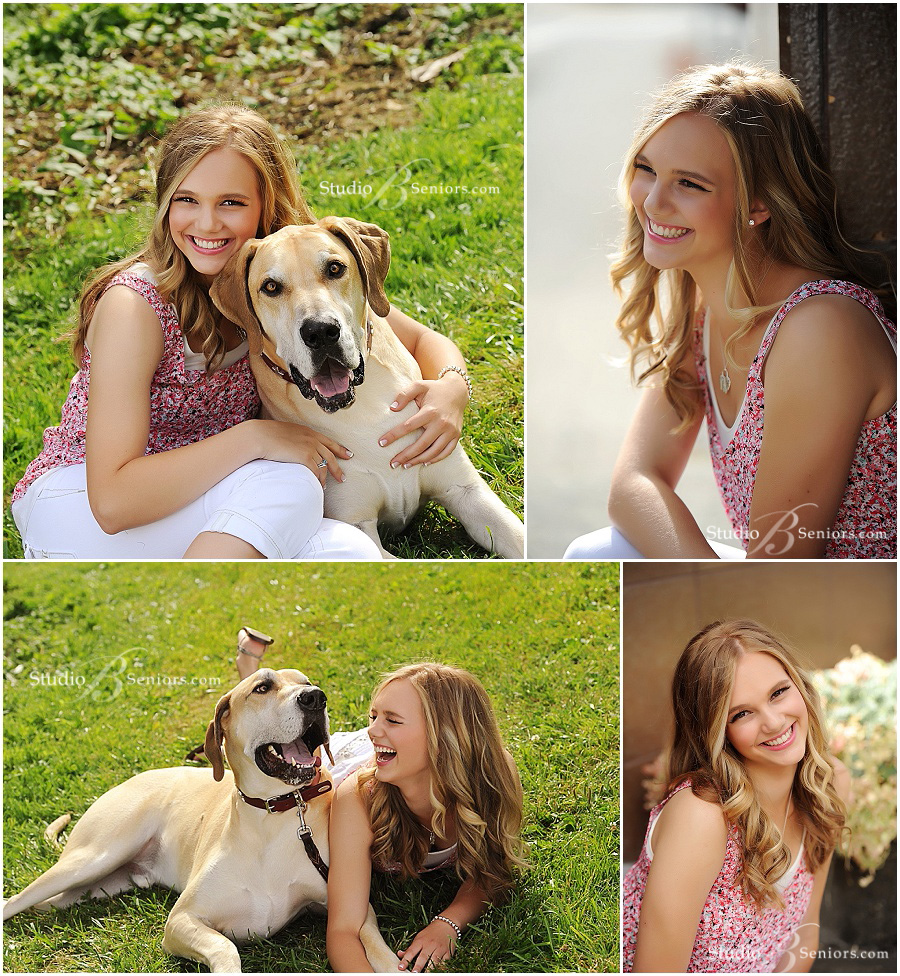 Senior pictures of Mount Si Girl laughing with dog