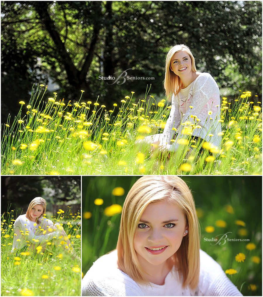 Senior pictures sitting in daisies outside_Studio B Portraits_0375
