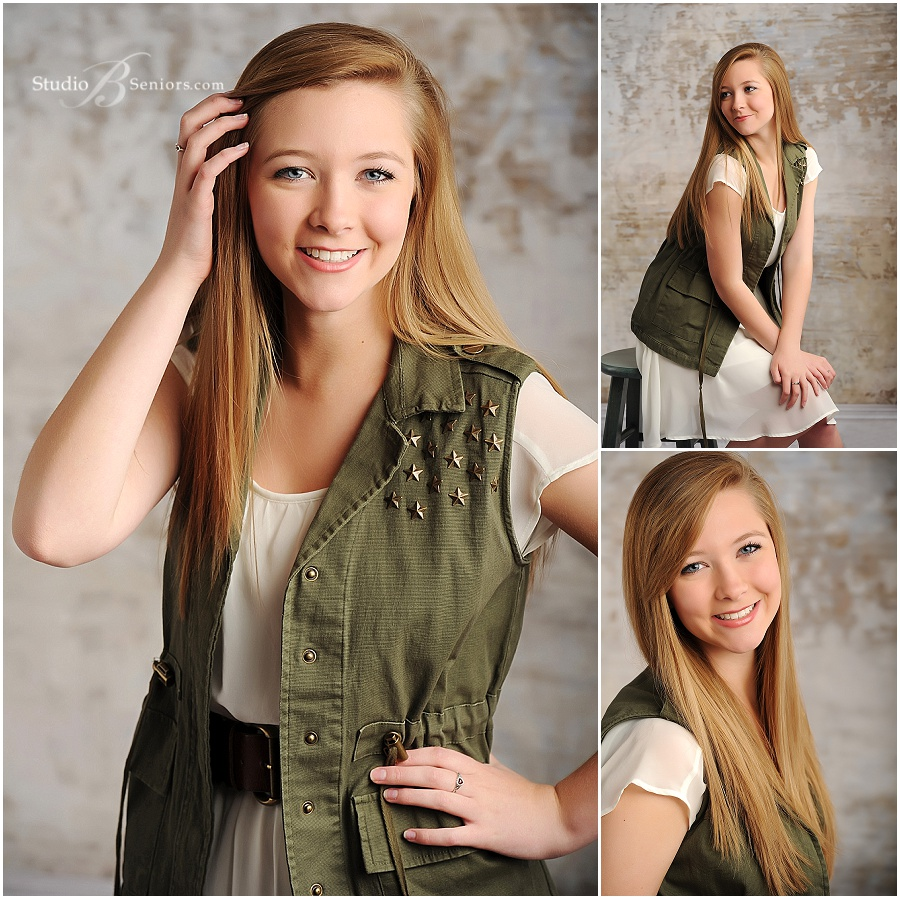 senior pictures of girl military green