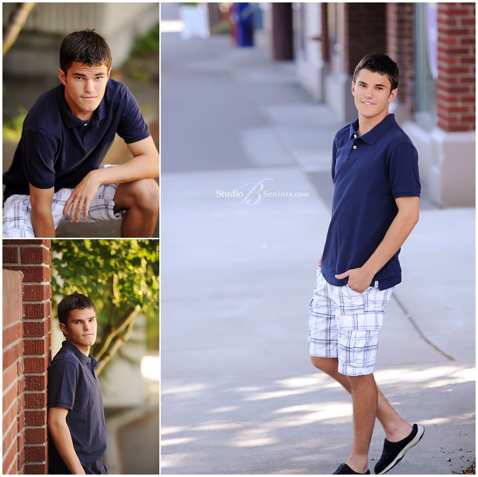 Senior pictures of guy in dress shorts and blue polo shirt_Studio B Portraits