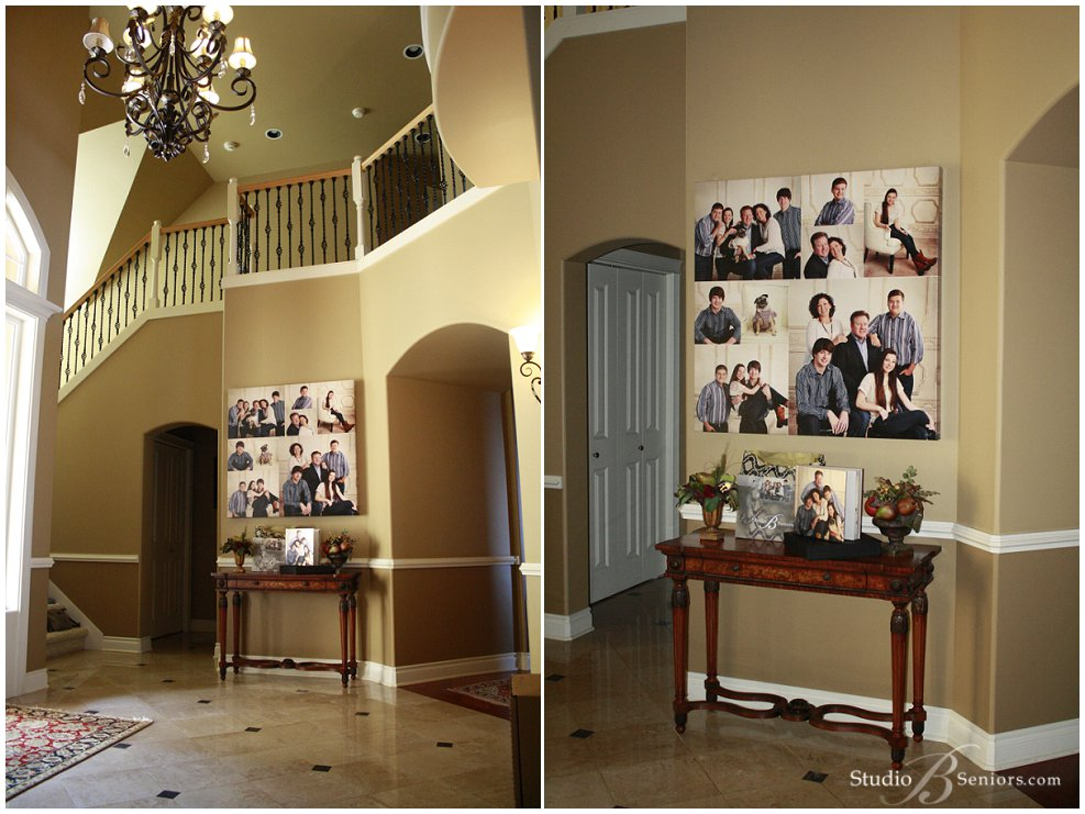 Family wall portraits on display in luxury home_Studio B Portraits