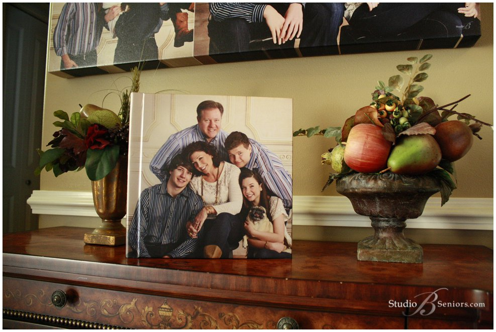 Family wall portraits on display in luxury home_Studio B Portraits_0008