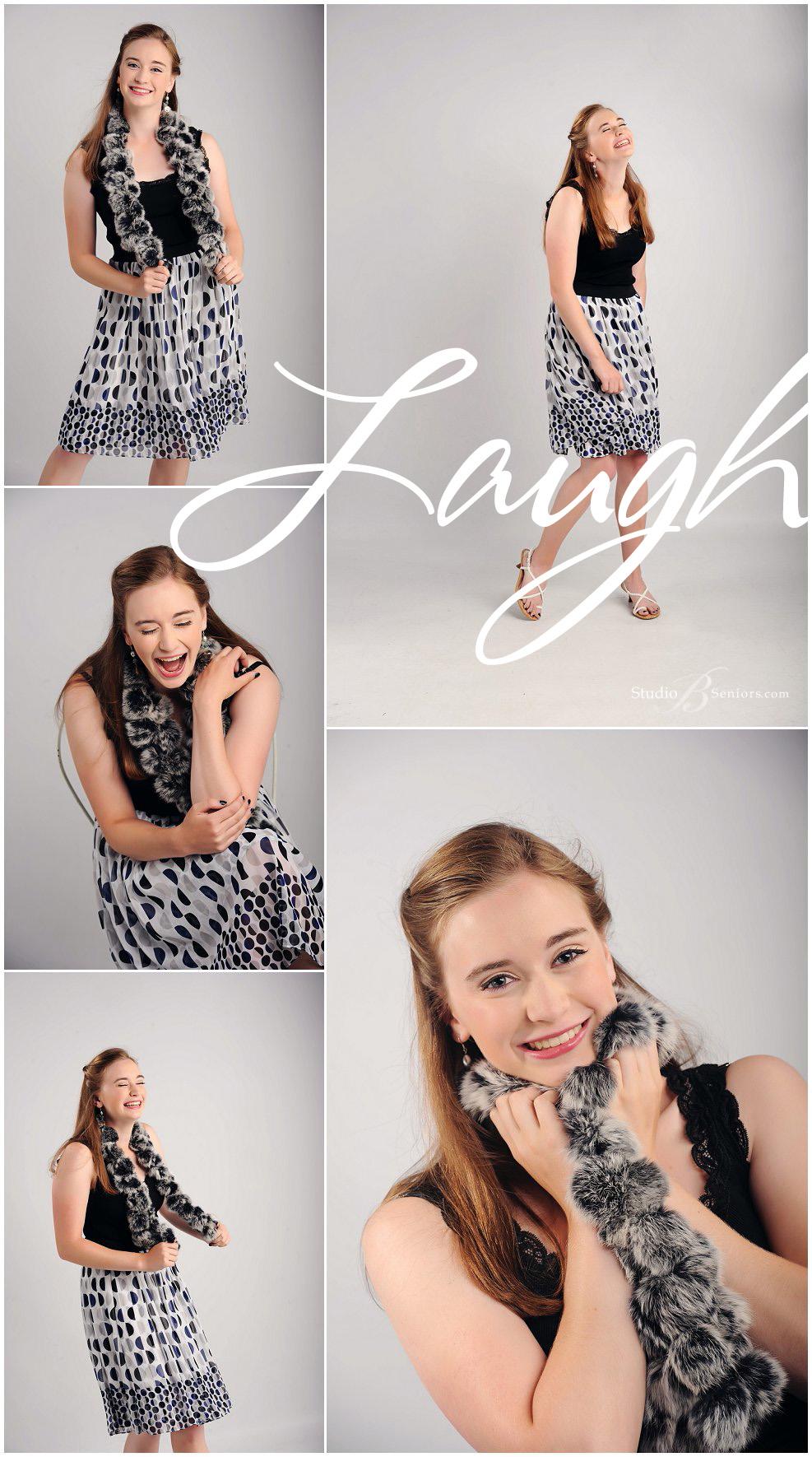 Fashion senior pictures polka dot dress of International School Bellevue Girl_Studio B Portraits