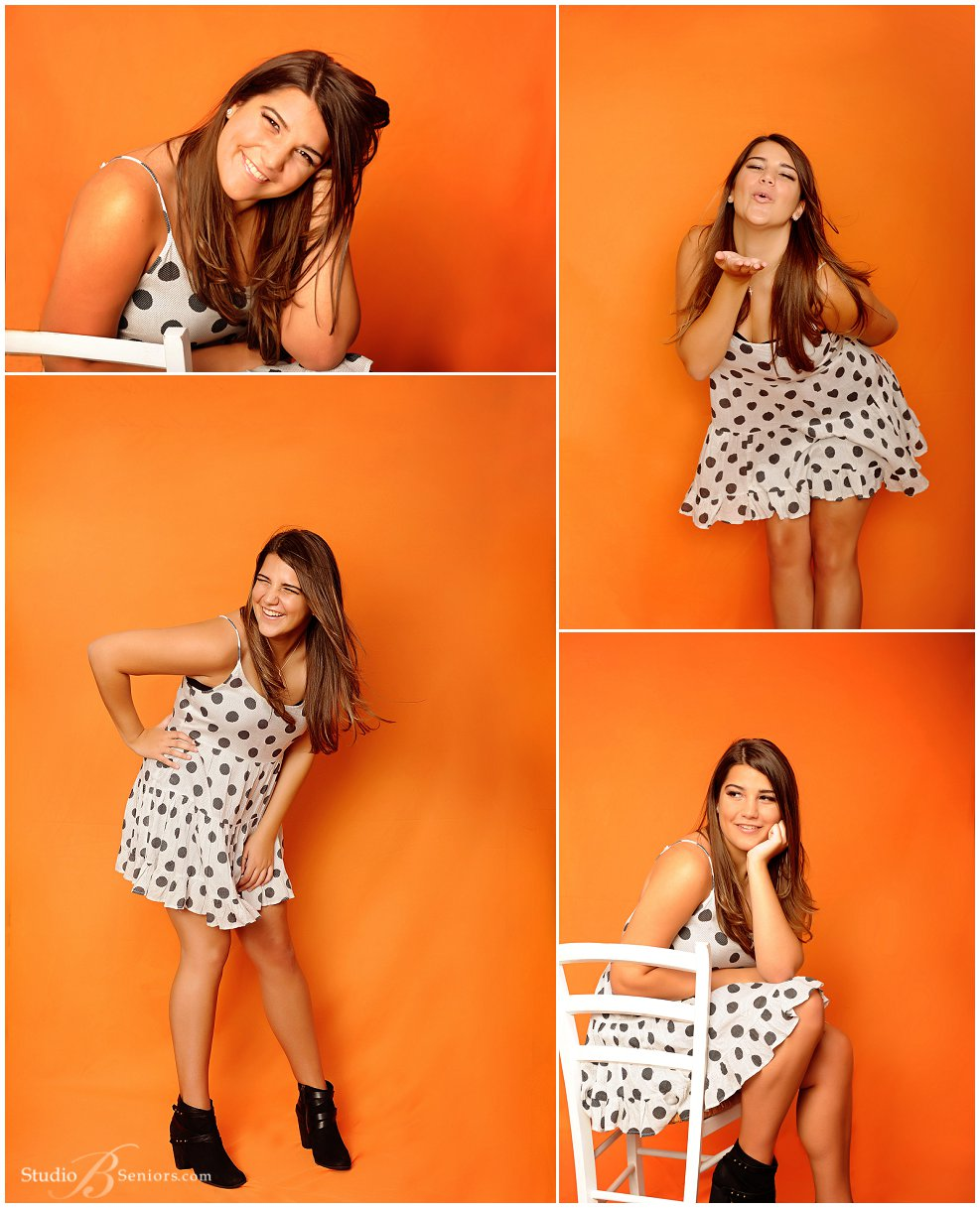 Magazine style senior pictures of Bellevue HS girl in polka dot dress_Studio B Portraits