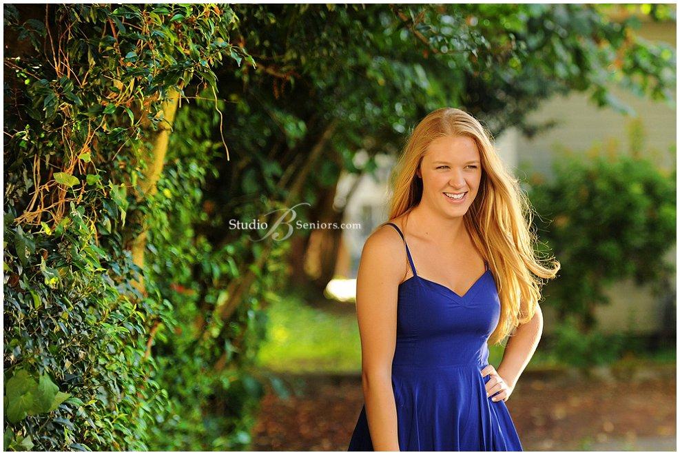 Pretty blonde girl from Eastside Catholic in blue dress_Studio B Portraits