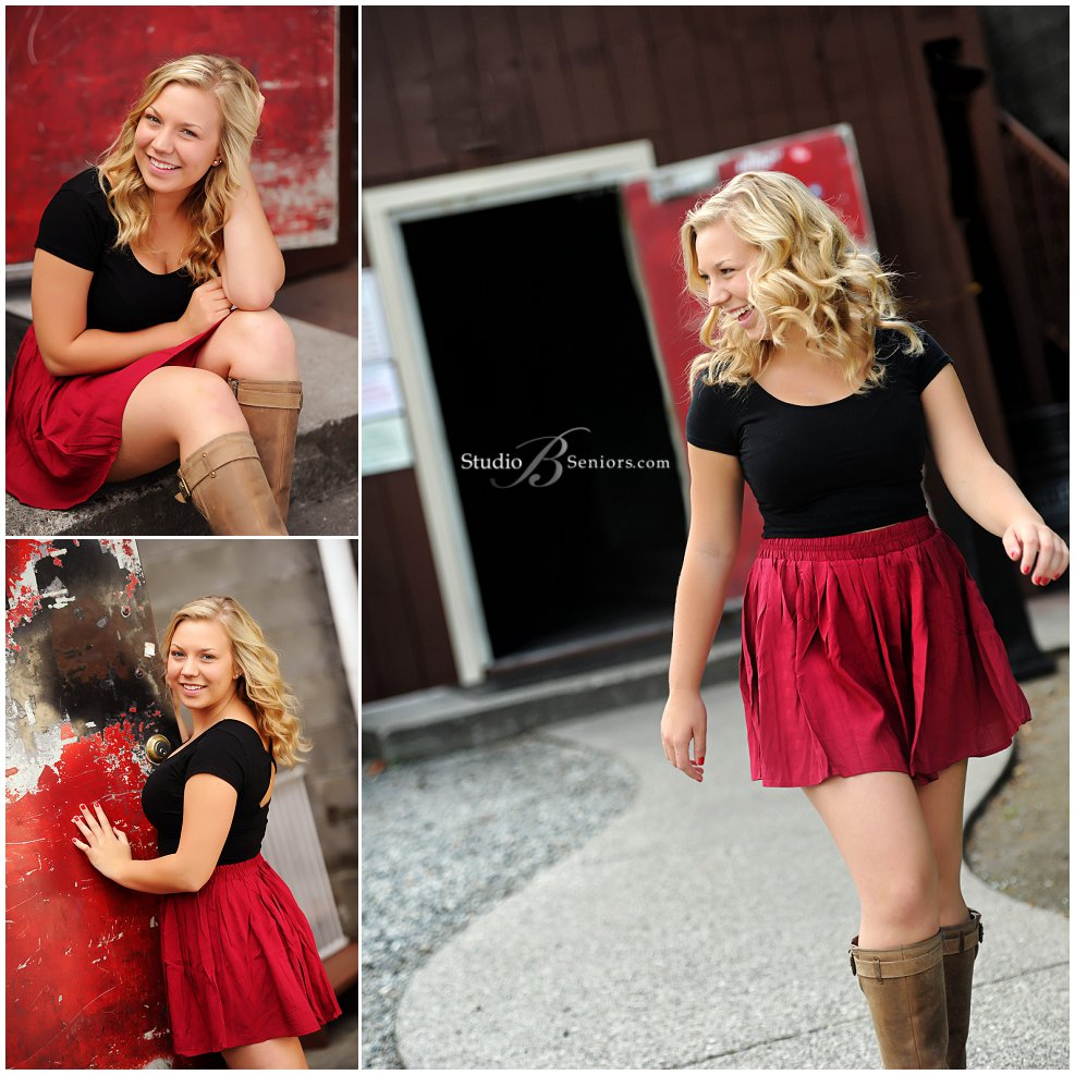 Senior pictures of Mount Si High School girl in red skirt and black crop top
