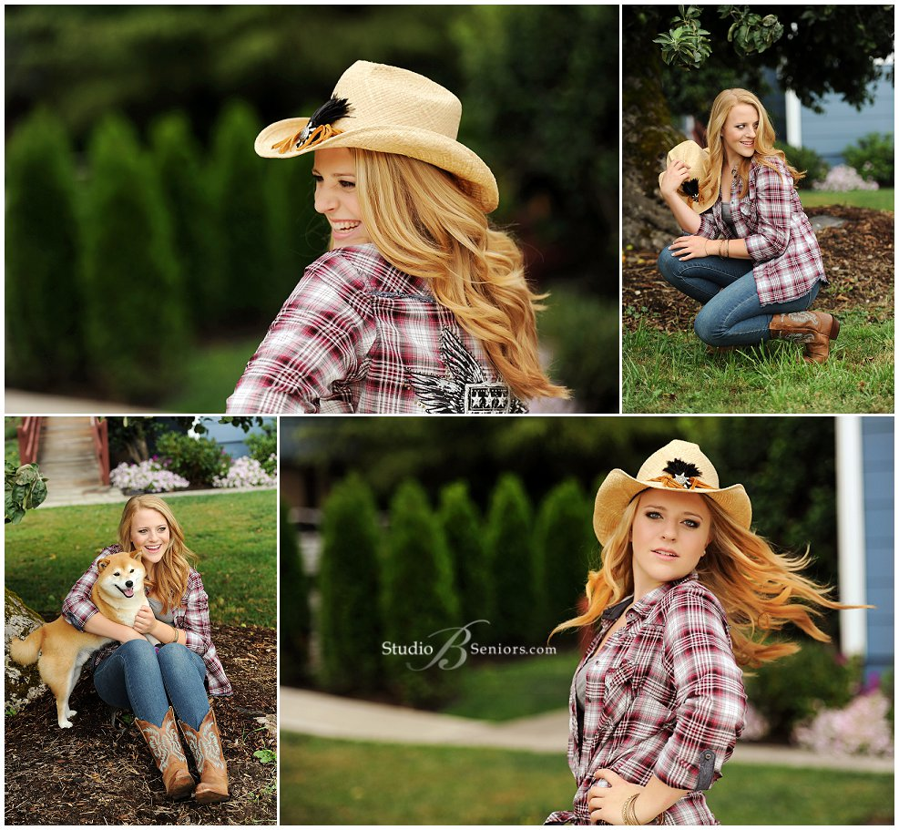 Senior pictures of girl in cowboy hat from Eastside Catholic_Studio B Portraits
