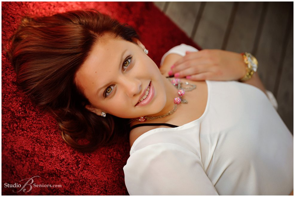 Mercer Island High School Senior pictures of girl in red pants_Studio B Portraits