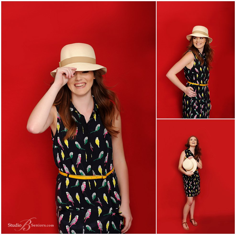 Magazine style senior pictures of girl in parrot dress and vintage hat_Studio B Portraits_0143.jpg