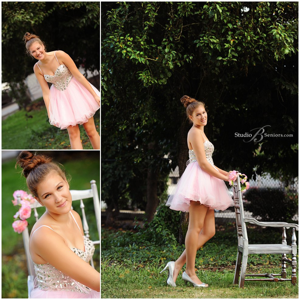 Senior pictures of girl in pink prom dress and bun outside_Studio B_0184.jpg