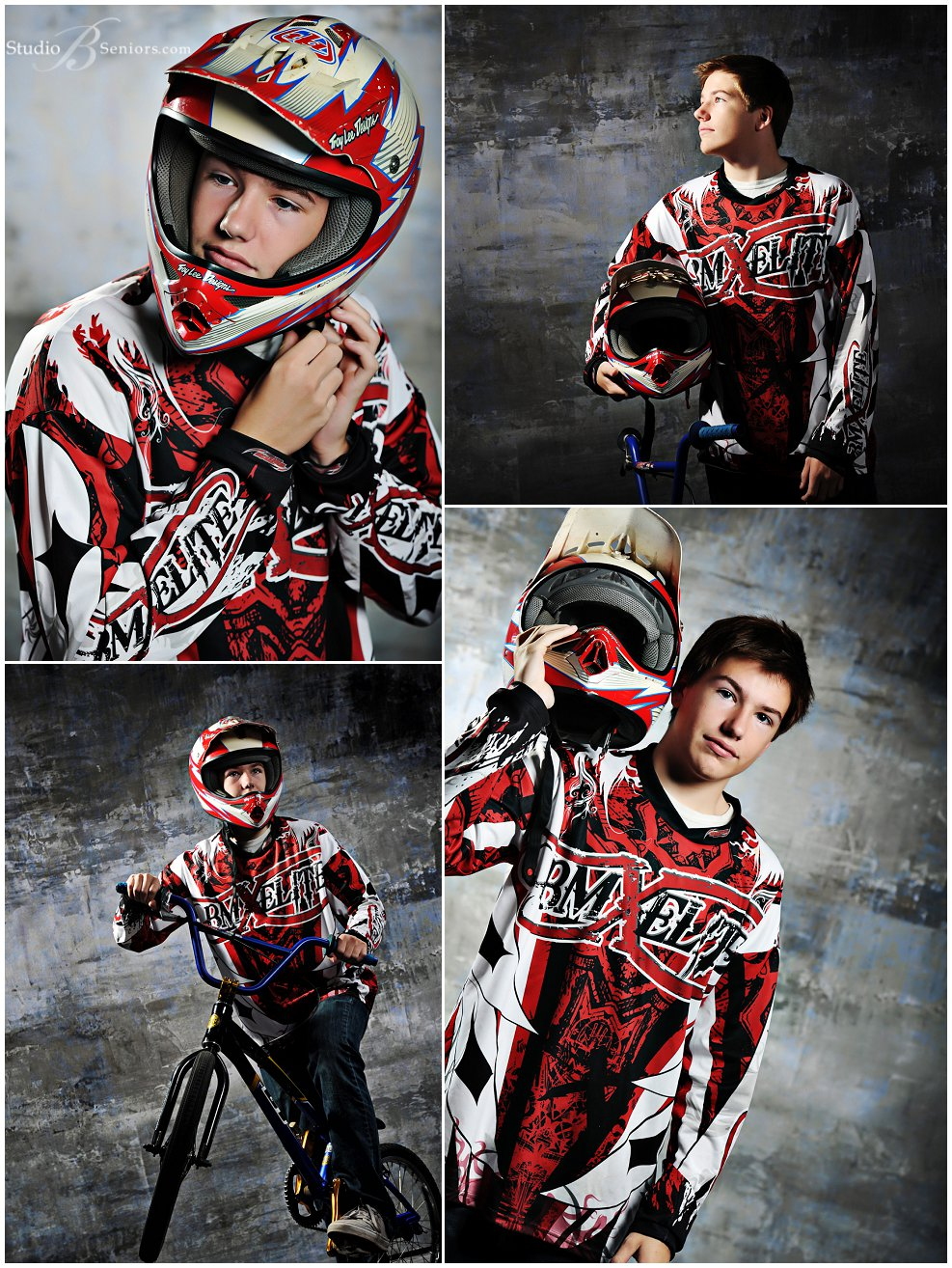 Boy senior pictures with BMX Bike_Studio B Portraits