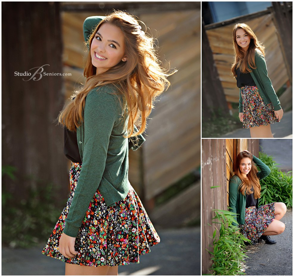 Fall senior pictures of Eastside Catholic girl in floral skirt_Studio B Portraits_0268