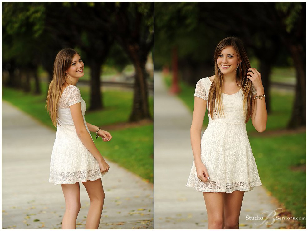 Fall senior pictures of Bellevue Christian girl in cream lace dress_Studio B Portraits_