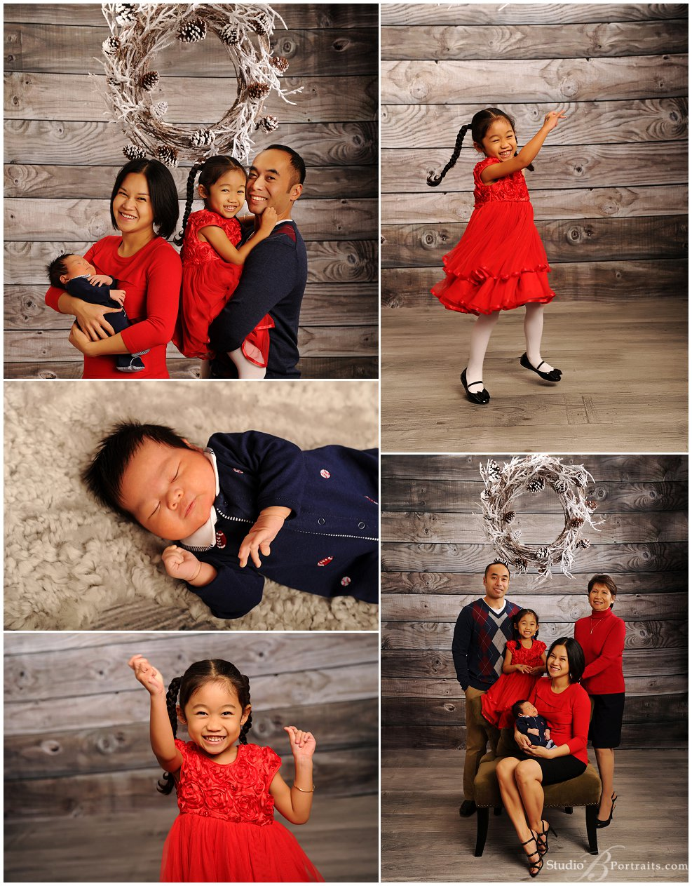 Christmas Family Pictures in red and blue_Studio B Portraits_0060.jpg