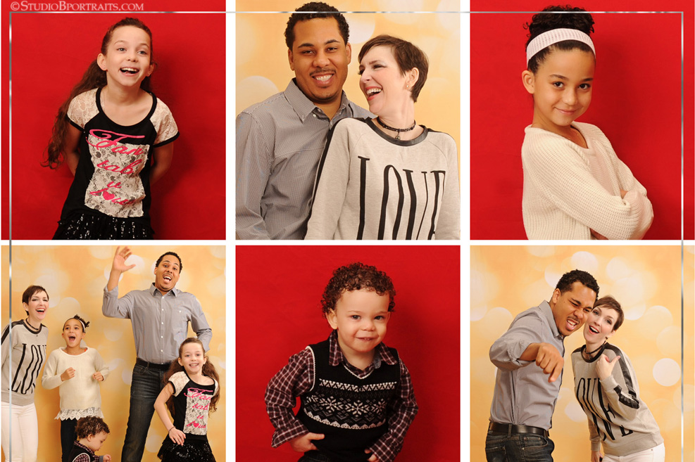Glamorous Christmas Family Pictures in red and gold glitter at Studio B Portraits