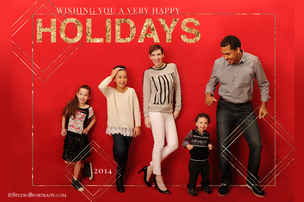 Glamorous Christmas Family Portraits in red and gold glitter at Studio B in Issaquah