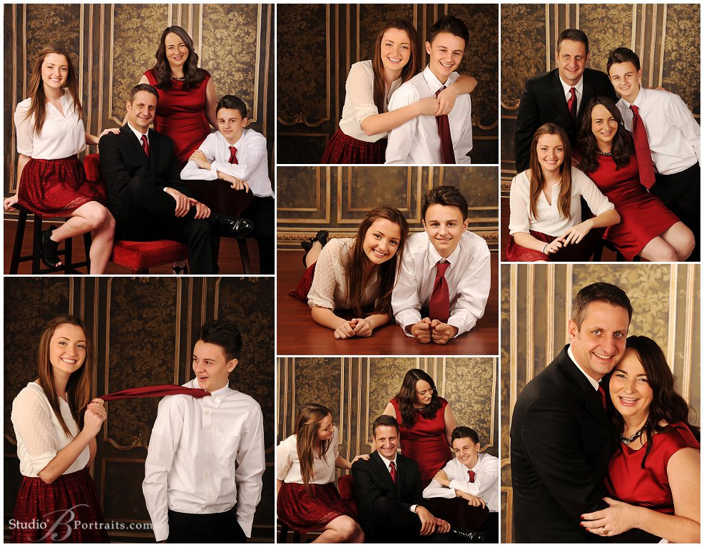 Formal Family Pictures in crimson and black at Studio B Portraits_0076.jpg