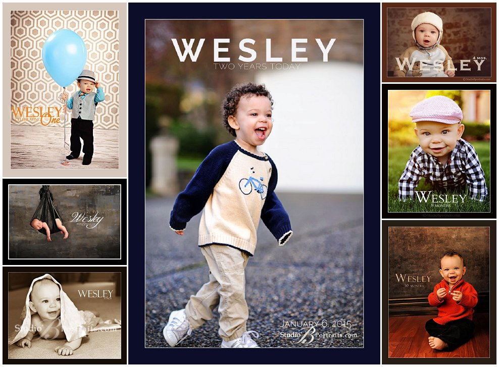 Watch Me Grow Portraits of newborn boy to 2 year birthday_Studio B Portraits