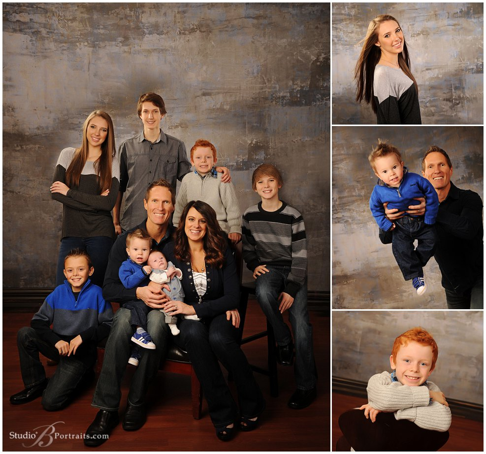 Family portraits parents and seven kids in blue and grey photographed at Studio B Portraits_0084.jpg