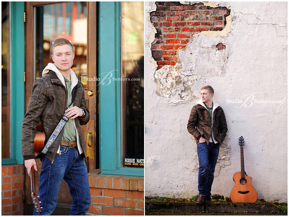 Cool-guy-senior-picture-of-high-schol-boy-in-brown-leather-coath-with-guitar