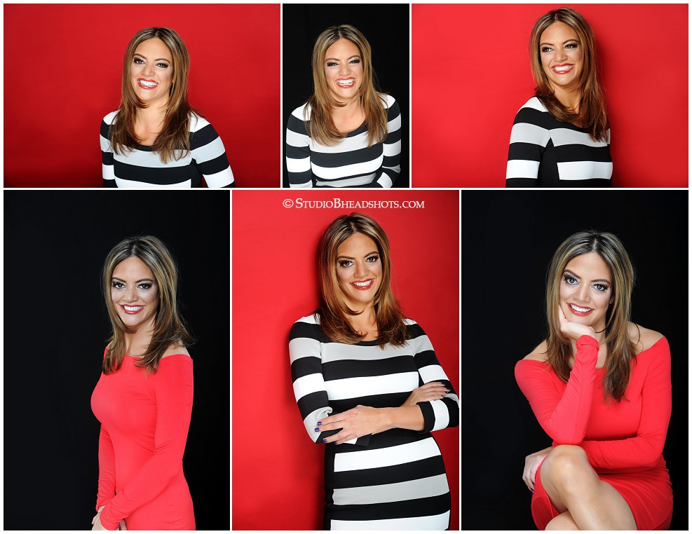 Best professional headshot poses featuring woman in black and white stripe dress at Studio B Portraits_0224.jpg