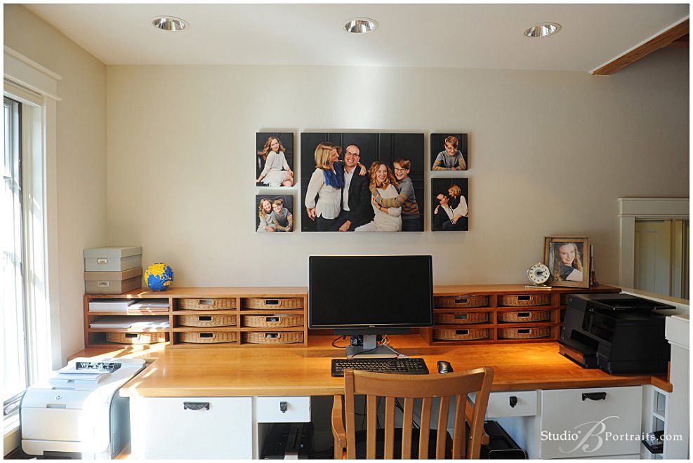 Family portraits in your home office using canvas wraps by Studio B Portraits