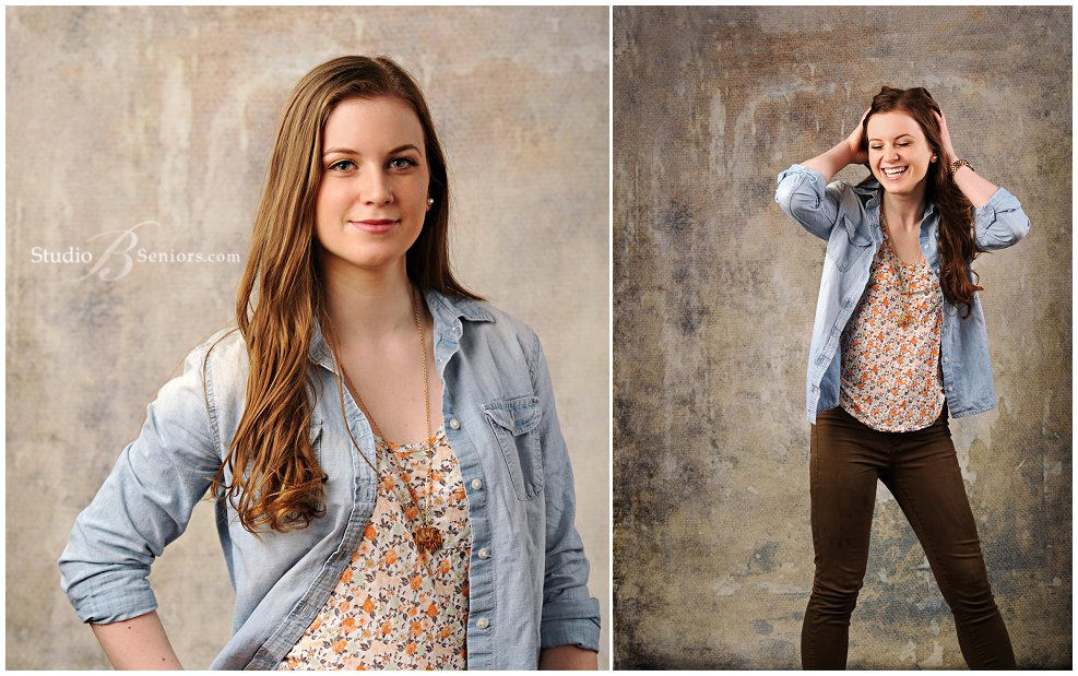 Senior Pictures of Kennedy High School girl in denim and floral outfit in the studio