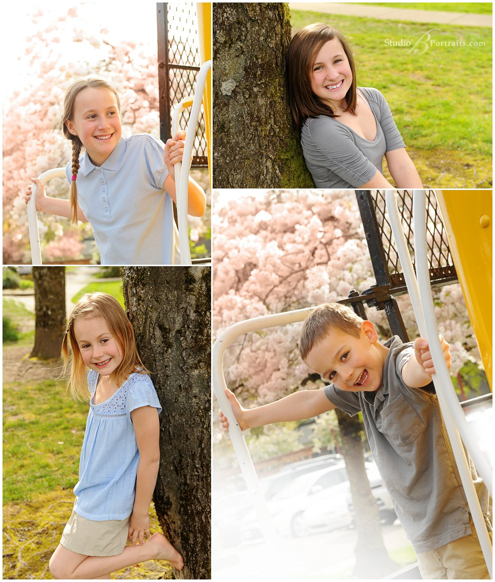 Spring outdoor family pictures of young family in blue and tan with cherry blossoms_Studio B Portraits_0317.jpg