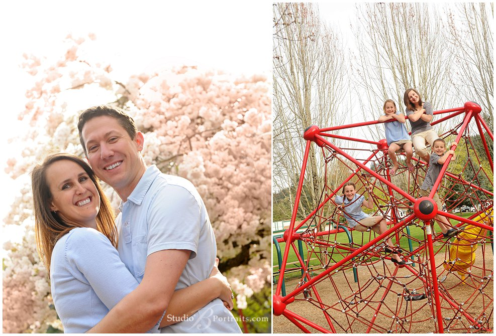 Spring outdoor family pictures of young family in blue and tan with cherry blossoms_Studio B Portraits_0318.jpg