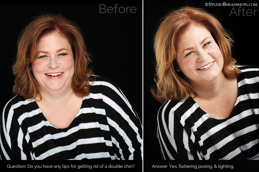 Tips for how to hide double chin and extra weight in professional headshot