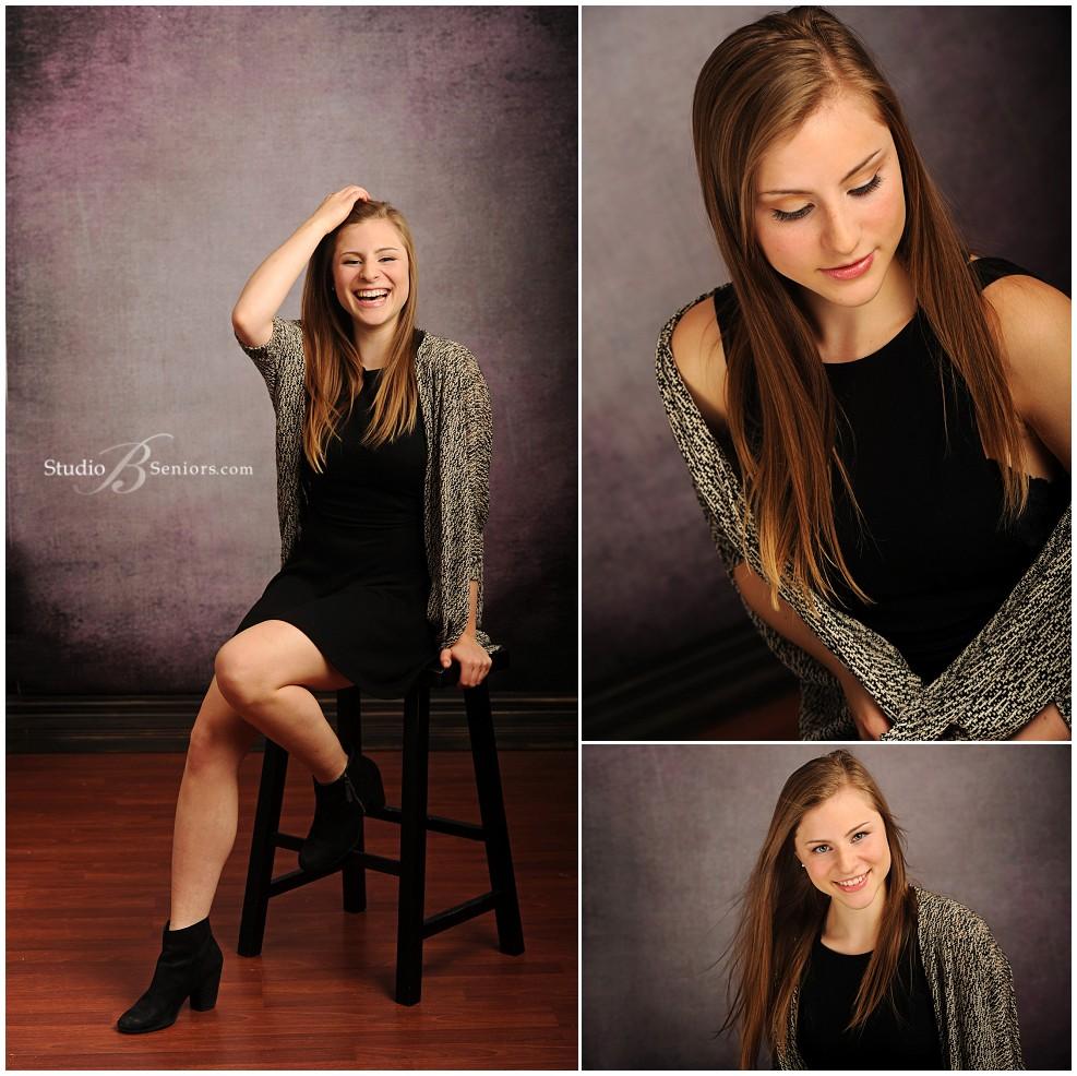 Great senior pictures of girl in black dress against vintage purple backdrop_0040.jpg
