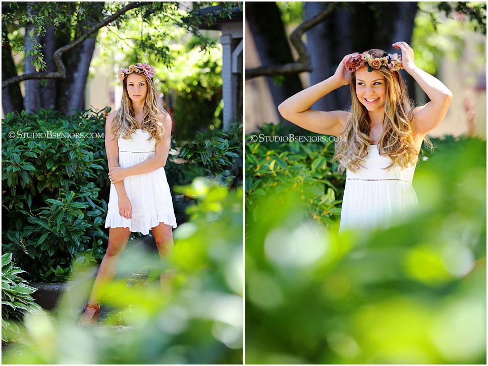 Best senior pictures in Seattle of senior girl in flower crown_Studio B Portraits