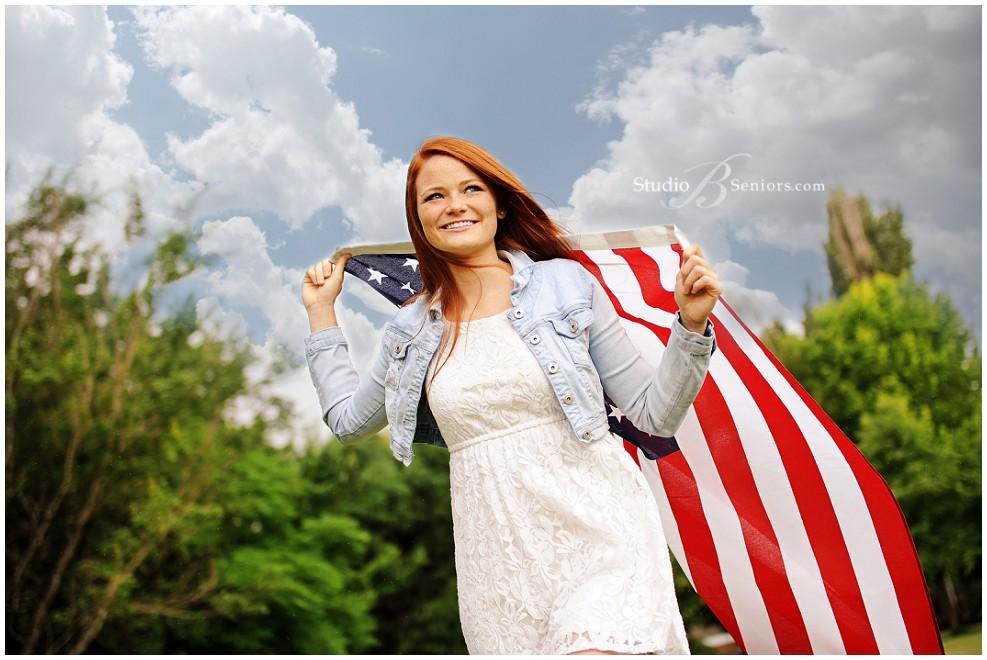 Best senior pictures in Seattle of red head girl with American flag_Studio B Portraits_0090.jpg