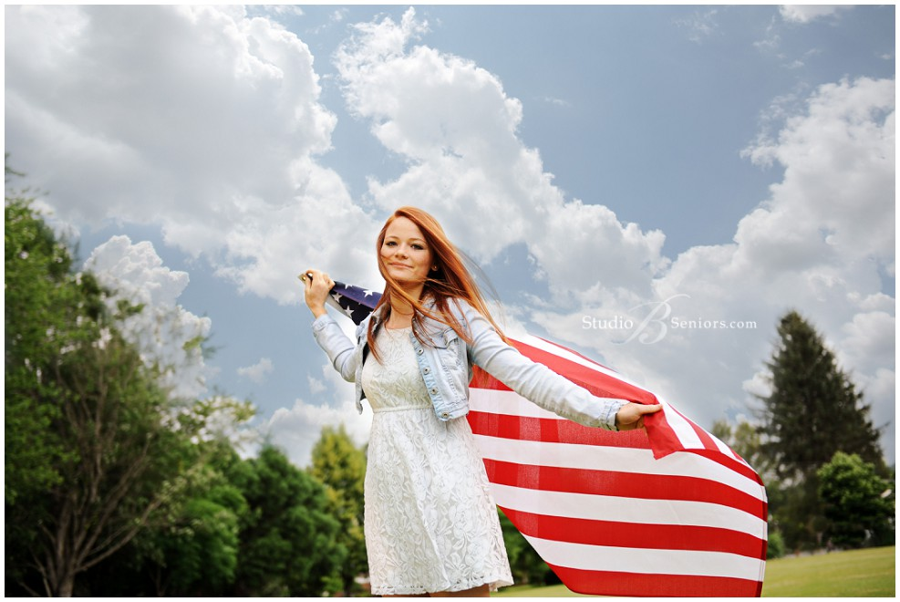 Best senior pictures in Seattle of red head girl with American flag_Studio B Portraits_0091.jpg