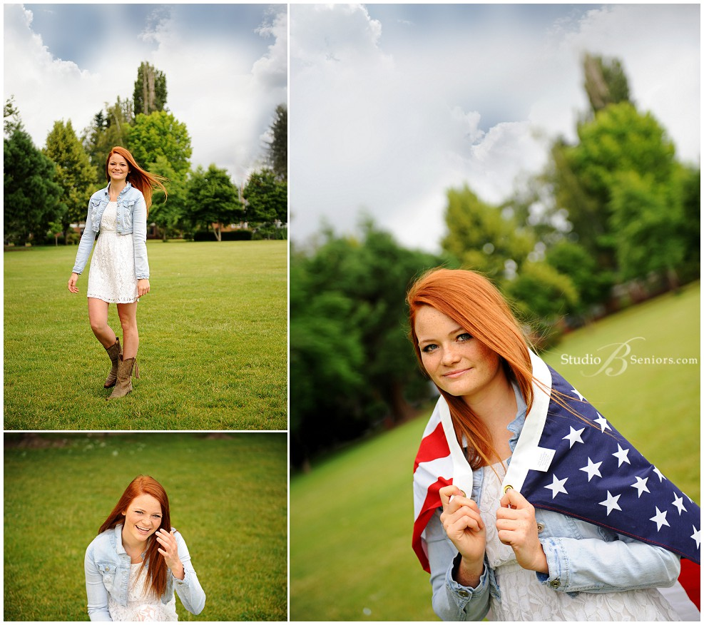 Best senior pictures in Seattle of red head girl with American flag_Studio B Portraits_0092.jpg