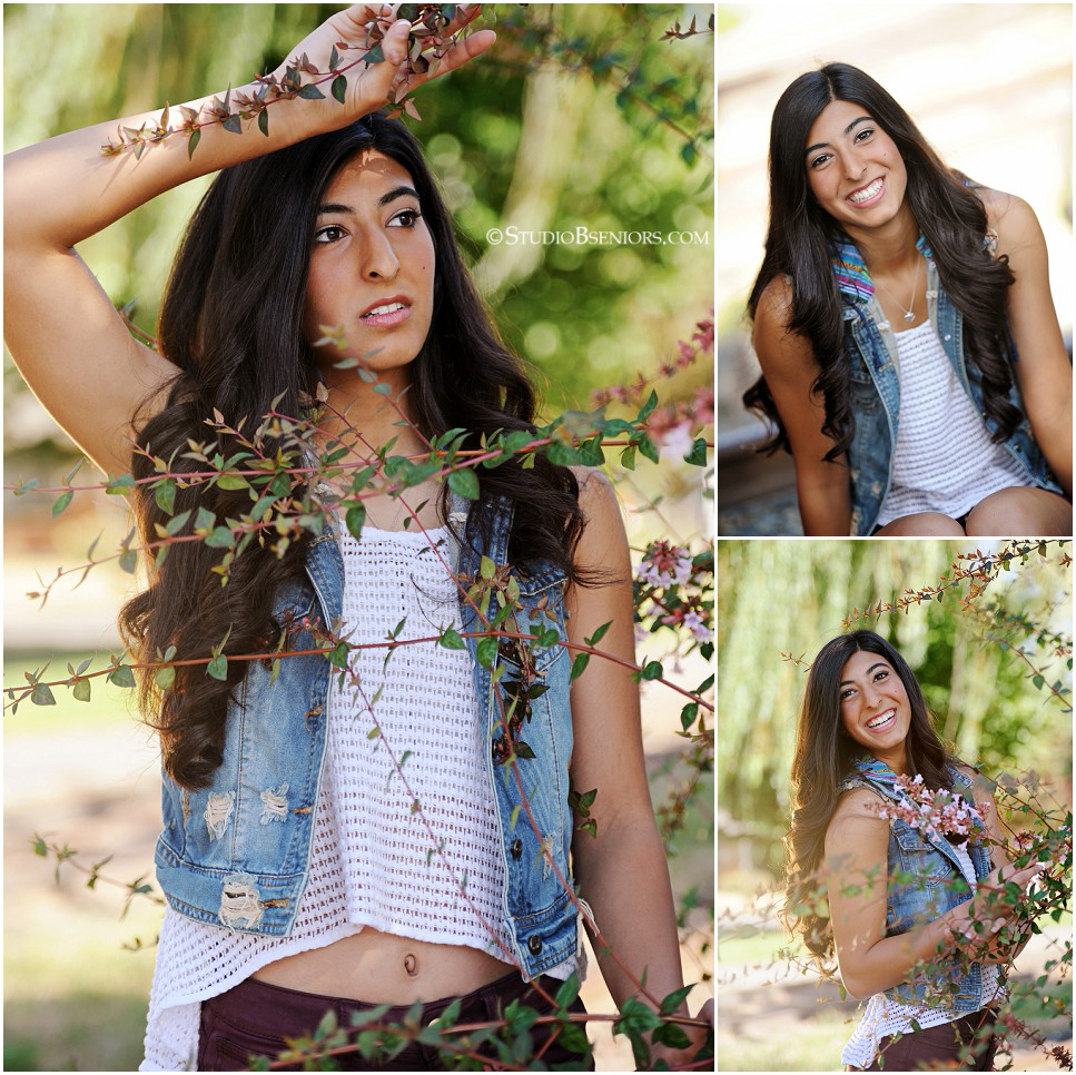 Beautiful senior pictures of Indian high school girl in flowers and sunshine