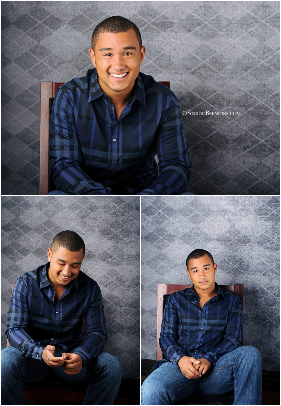 African American Senior Guy from Lakeside High School in Seattle dressed in blue button down shirt_0163.jpg