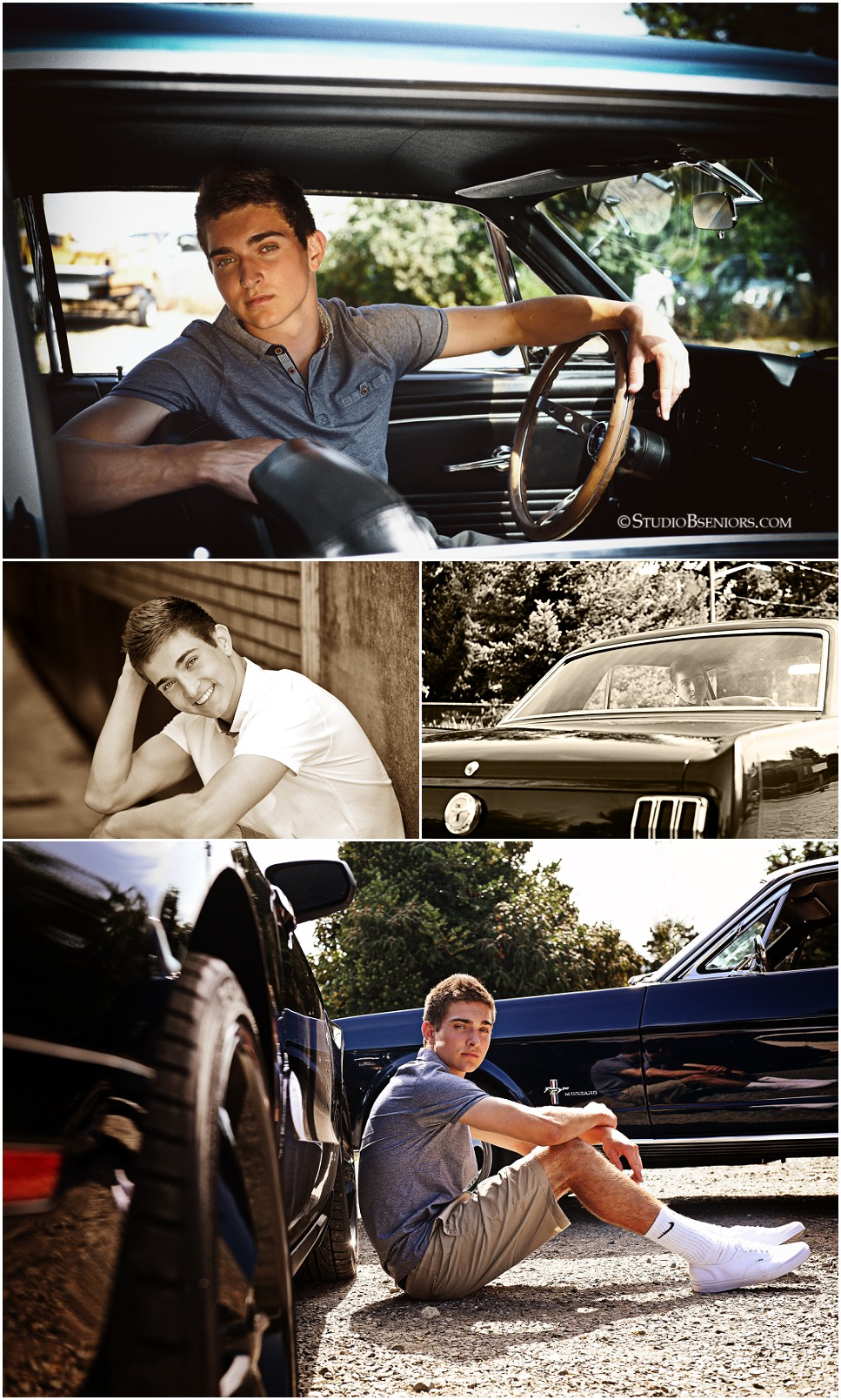 Cool guy senior pictures of boy in classic blue mustang car_0168.jpg