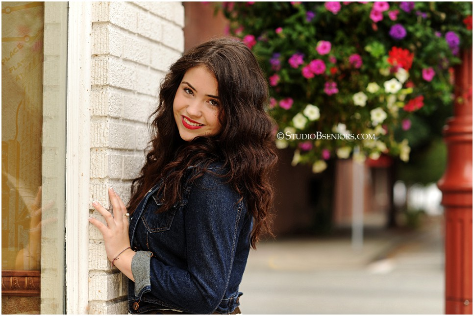 Fashion inspired senior pictures of brunette girl in geometric skirt and jean jacket_0159.jpg