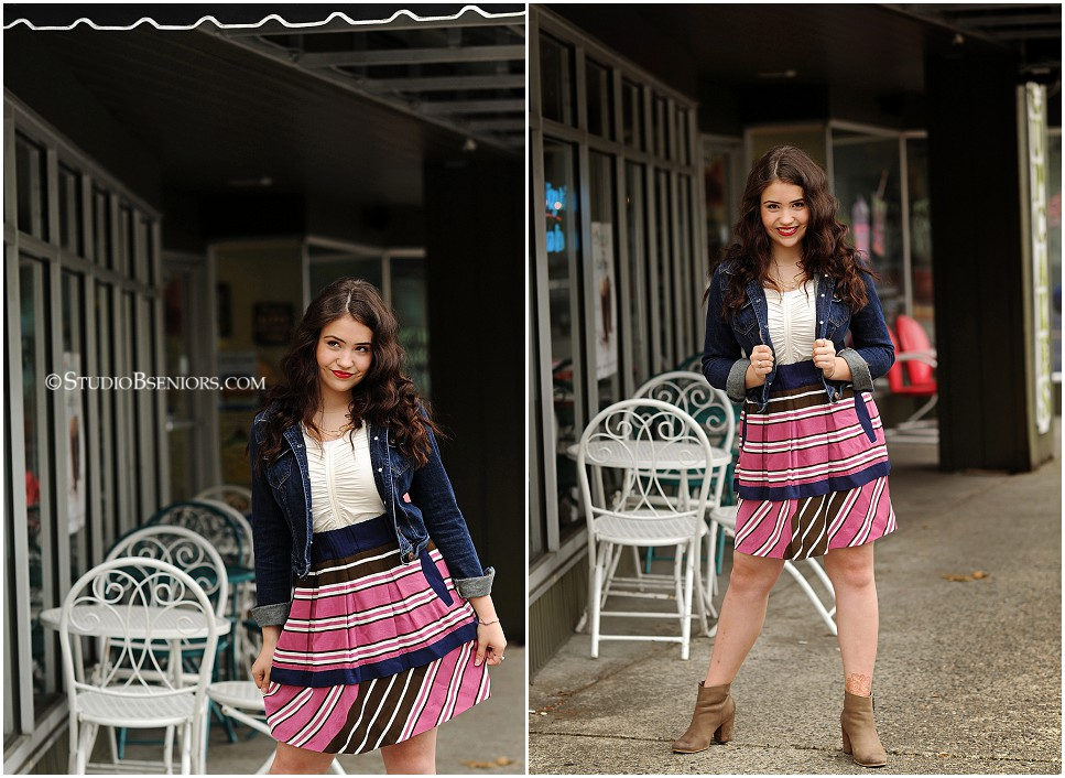 Fashion inspired senior pictures of brunette girl in geometric skirt and jean jacket_0160.jpg