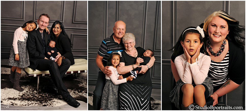 Family portraits of generations in studio wearing black and white_0193.jpg