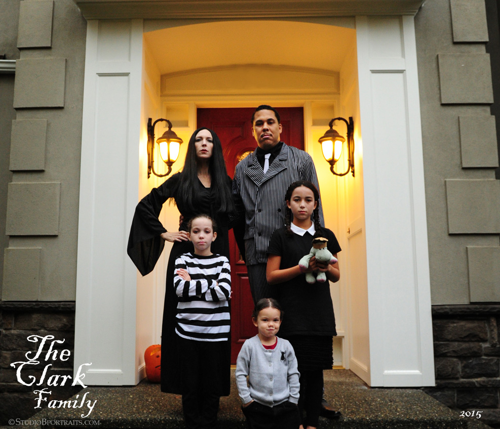 Clark Family dresses up as Addams Family for Halloween