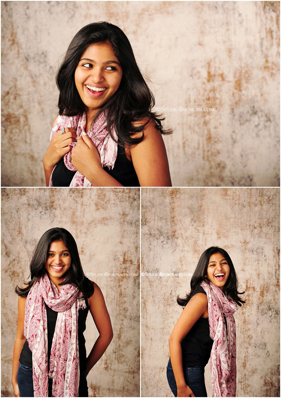 Beautiful Indian girl in pink scarf and black tank for senior pictures