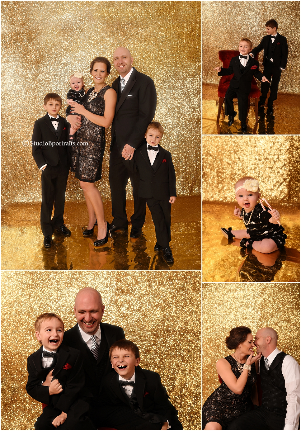 Putting the fun in formal black tie family portraits at Studio B near Bellevue WA